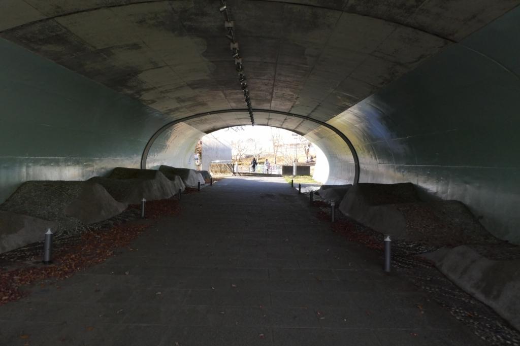 トンネルを通っていきます