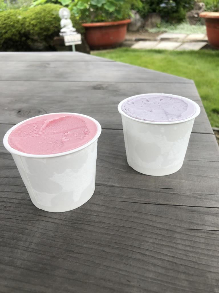 黒すぐりミルクアイスと赤すぐりのシャーベット